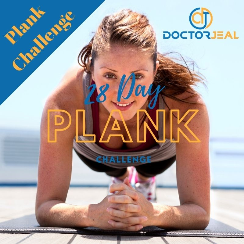 Title photo showing a women performing a plank exercise with text saying 28 day plank challenge
