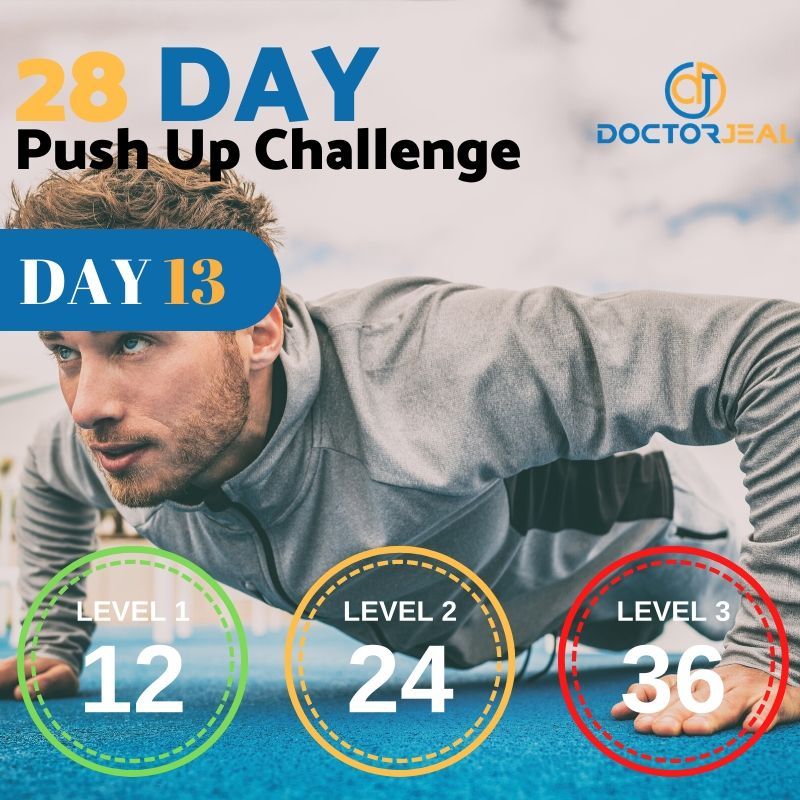 28 Day Push Up Challenge Daily Targets MALE Day 13