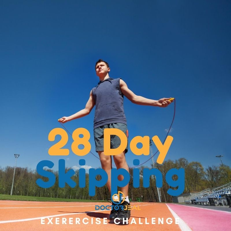 28 Day Skipping Exercise Challenge Male Title