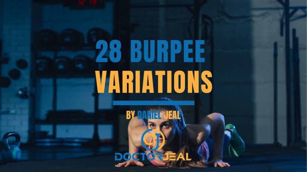 Title image for 28 burpee variations showing a women performing a burpee exercise