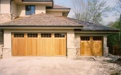 Dual custom garage door with windows and utility garage