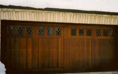 Dark stained overhead doors with windows