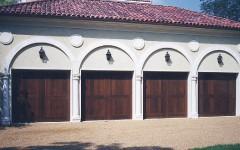 Four Garage Doors - Dark Wood