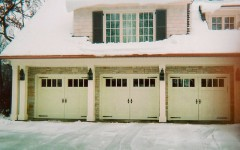 Triple custom garage doors with windows