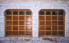 Stained Custom Garage Doors with arch and windows
