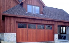 Contemporary Custome Garge Door - stained with windows
