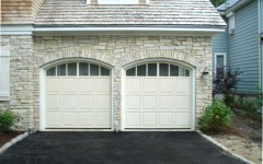 Dual Singel Garage Doors - with arch and windows