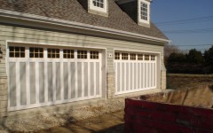 Dual Double Wide Garage Doors - gray with Windows