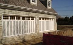 Dual Double Wide Garage Doors - gray with Windows