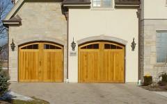 Arched Garage Doors - Light Pine