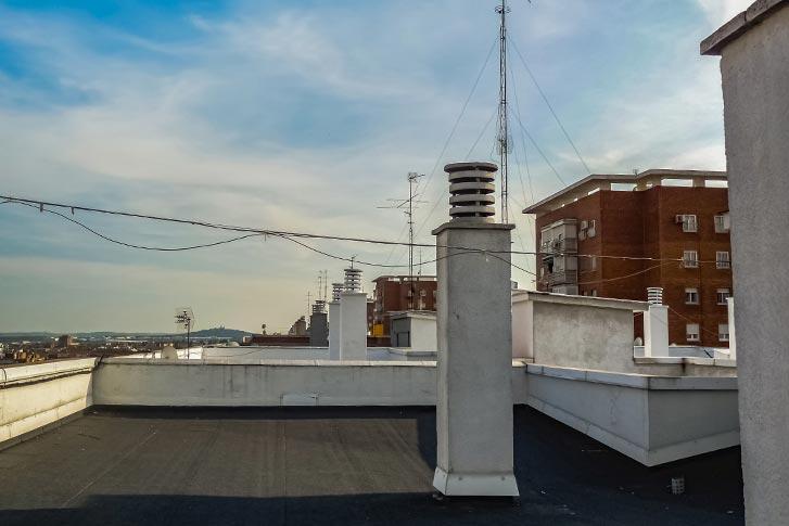 Metal roof overlooking city