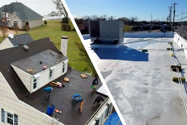 Split image showing residential and commercial roofs in north Dallas TX area