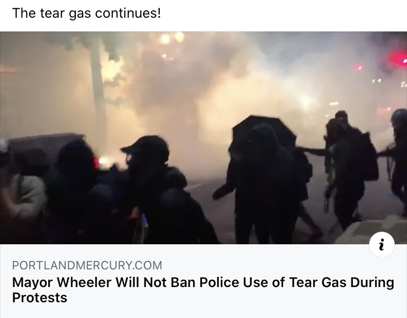 06:11:2020 Portland OR post of tear gas continued use Wheeler will not ban