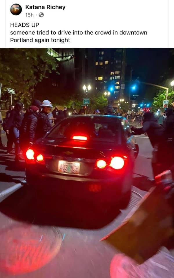 06:28:2020 Portland OR attempted vehicle violence