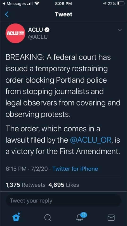 07:02:2020 Portland OR temporary order agianst police stopping journalists