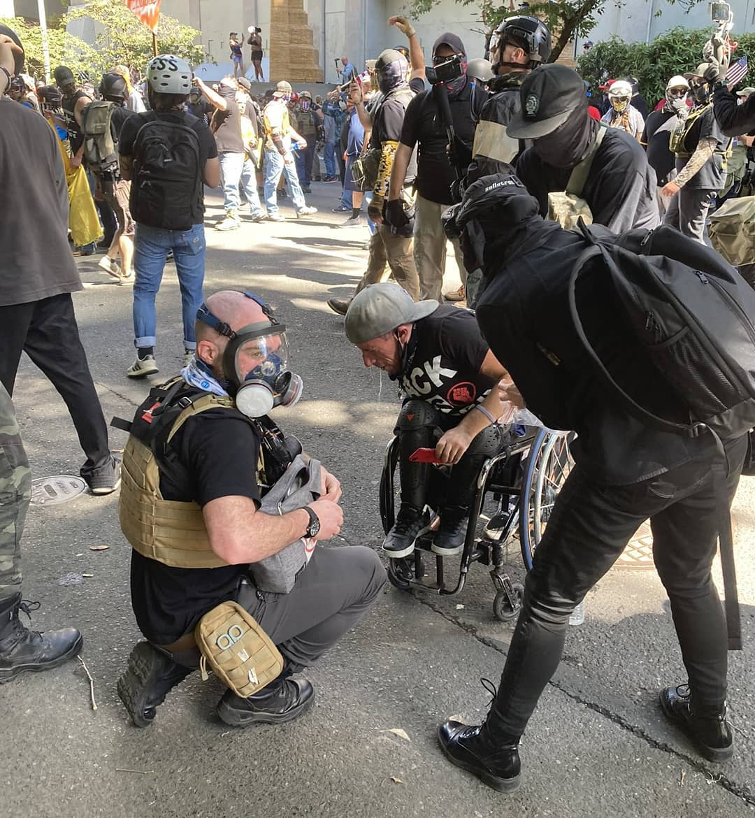 08:22:2020 Portland OR BLM protester maced by proud boys