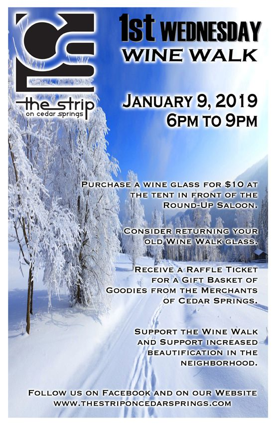 Wine Walk RESCHEDULED Jan. 09, 2019