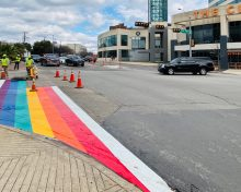 It's Rainbow Time! First rainbow crosswalk being painted in Oak Lawn