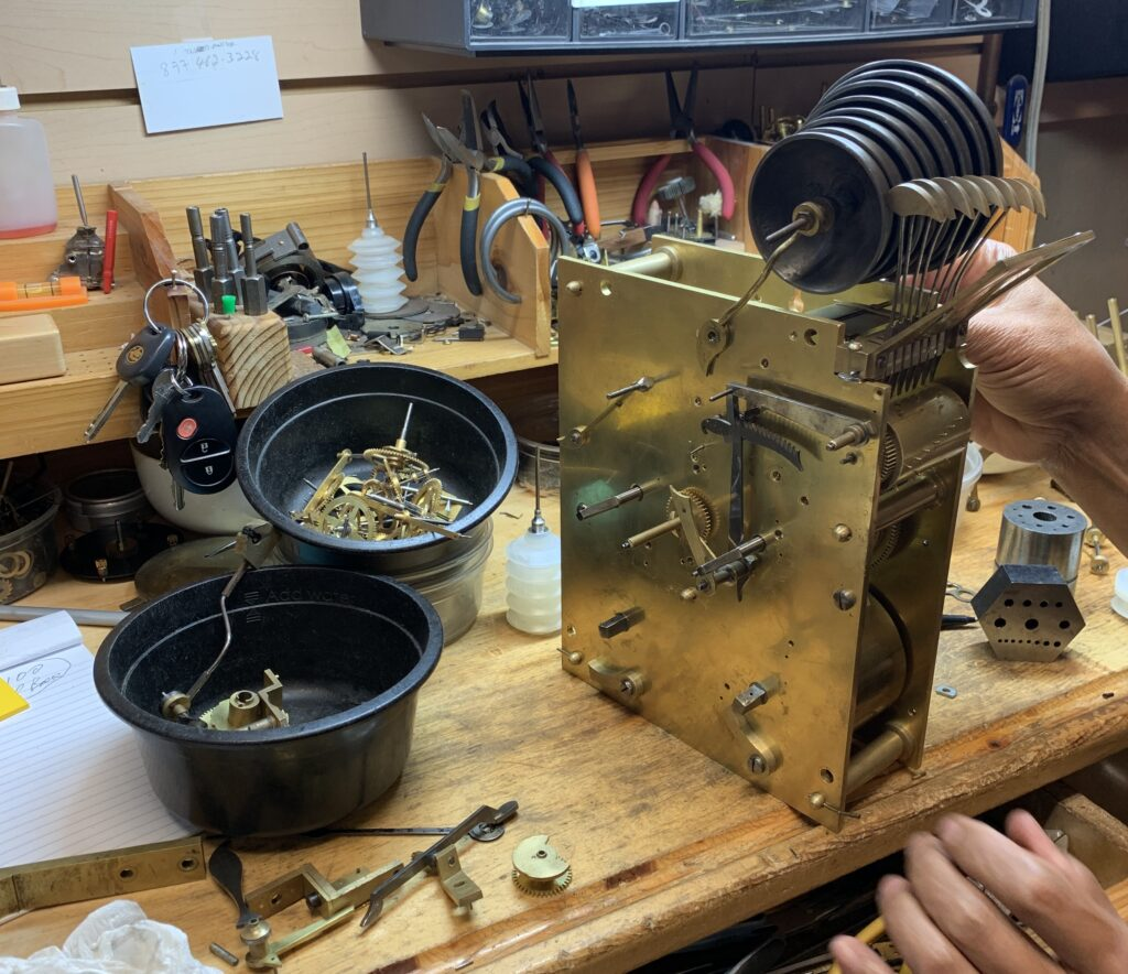 Grandfather clock repairs being performed in Bend, OR