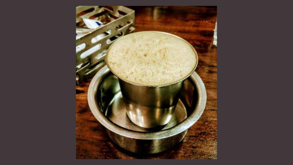 filter coffee served in traditional South Indian style