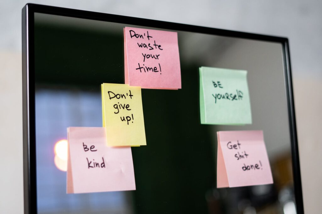 sticky notes to inspire you while working