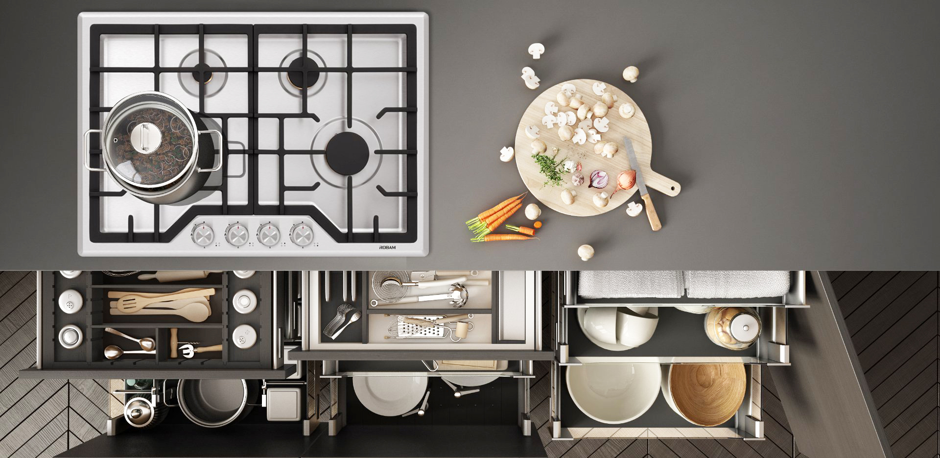 Robam-powerful-30in-gas-cooktop-G413