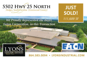 Lyons Industrial Properties represents Eaton Corporation in purchase of a 111,600 SF manufacturing facility in Hodges, SC