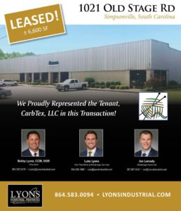 Lyons Industrial Represents CarbTex LLC in Leasing of 6,600 SF Facility in Simpsonville, SC