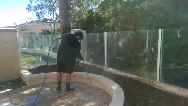 Backyard pressure washing