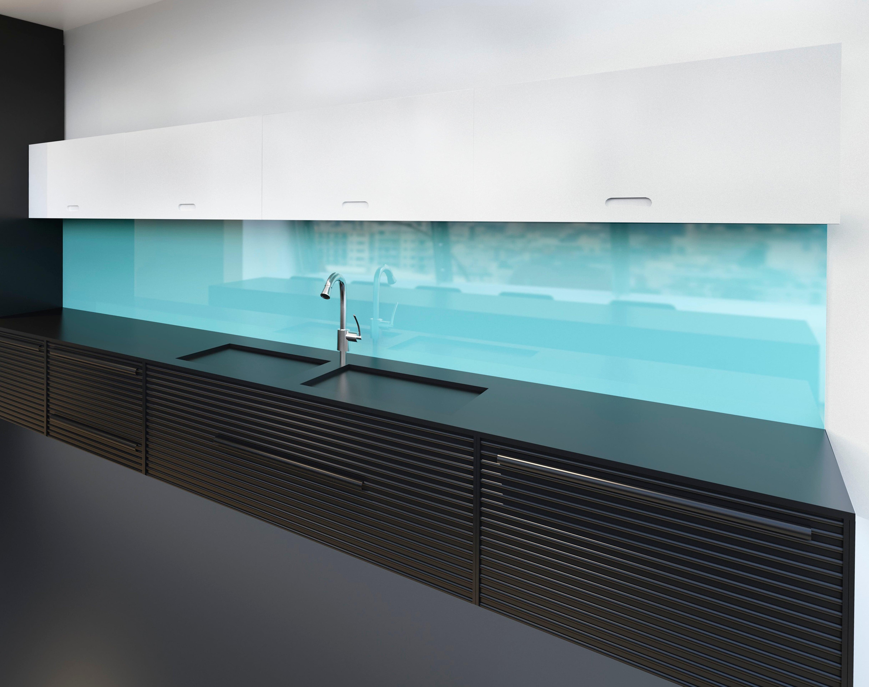 Backsplashes ideas; Blue tinted glass backsplashes