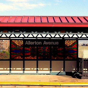 This is an image of Allerton Avenue Subway Station Sign and Stained Glass Mural