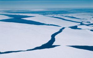 ice on ocean separating apart