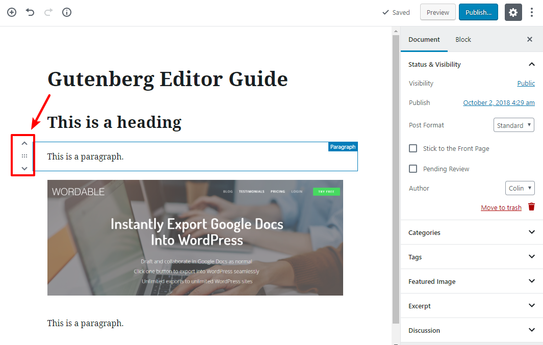 gutenberg editor tutorial basic 12