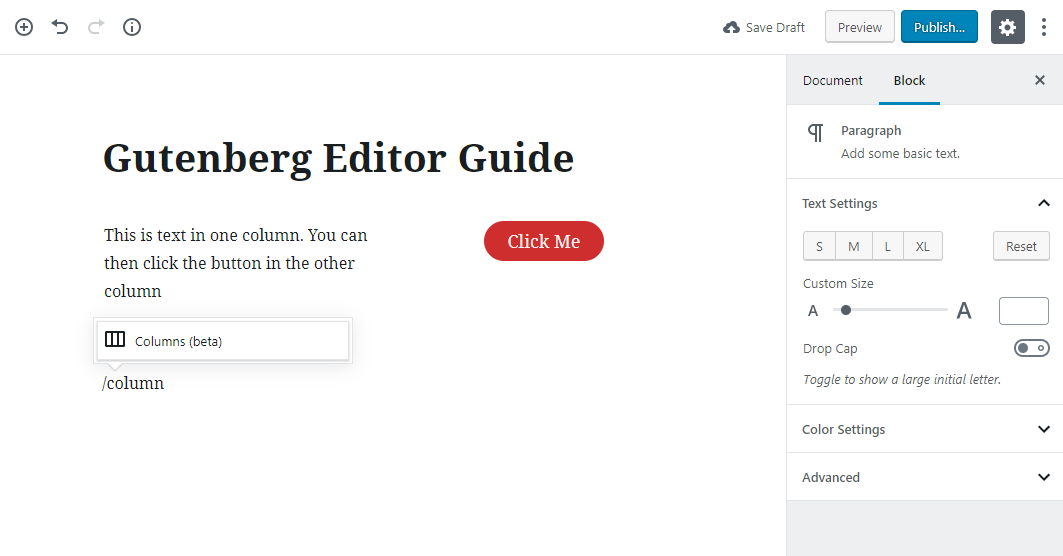 gutenberg editor tutorial basic 20