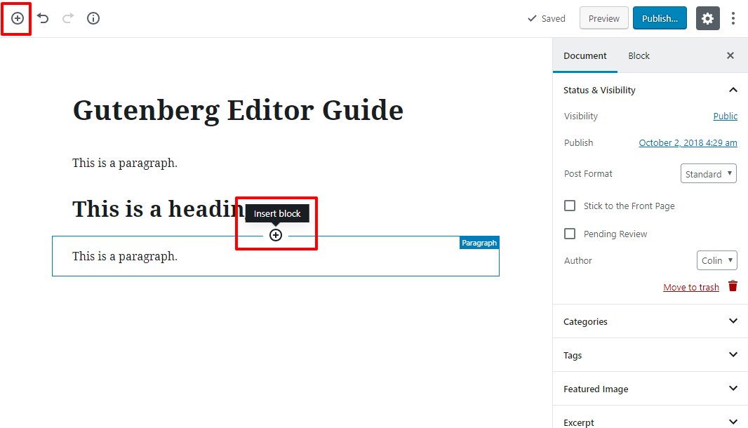 gutenberg editor tutorial basic 7