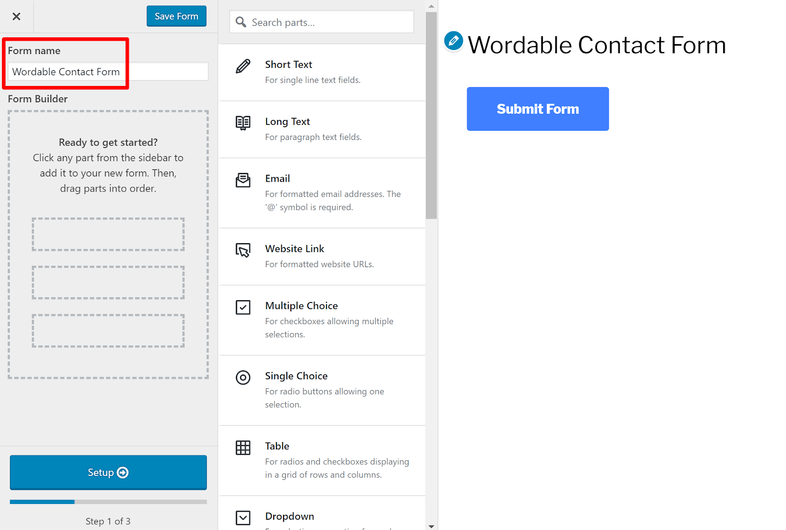 contact form wordpress 3