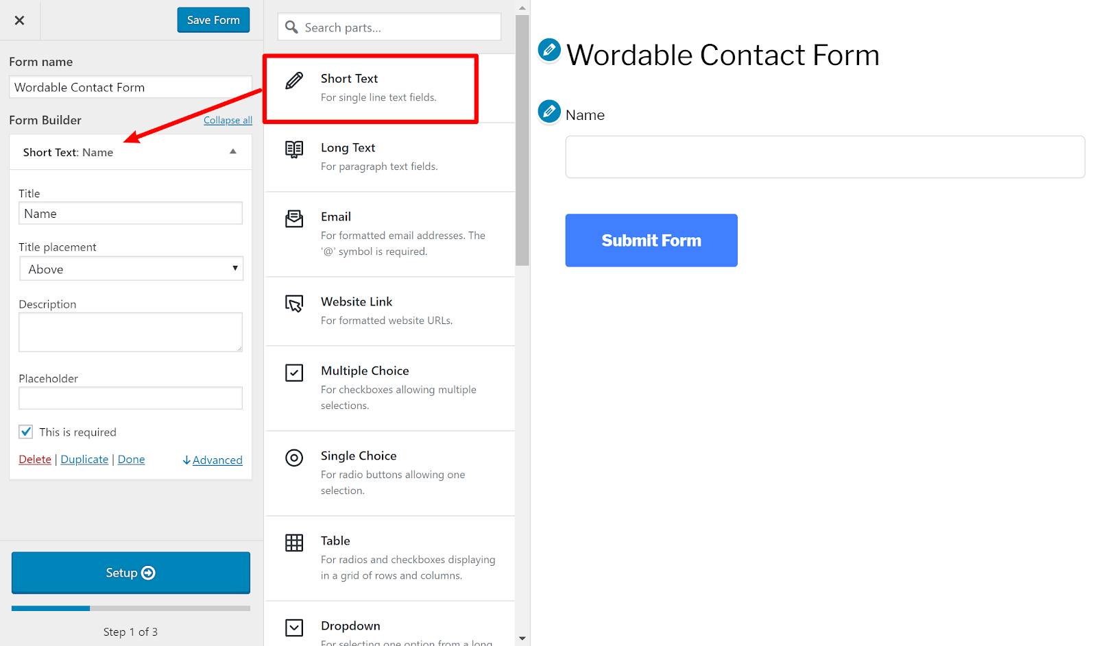 contact form wordpress 4