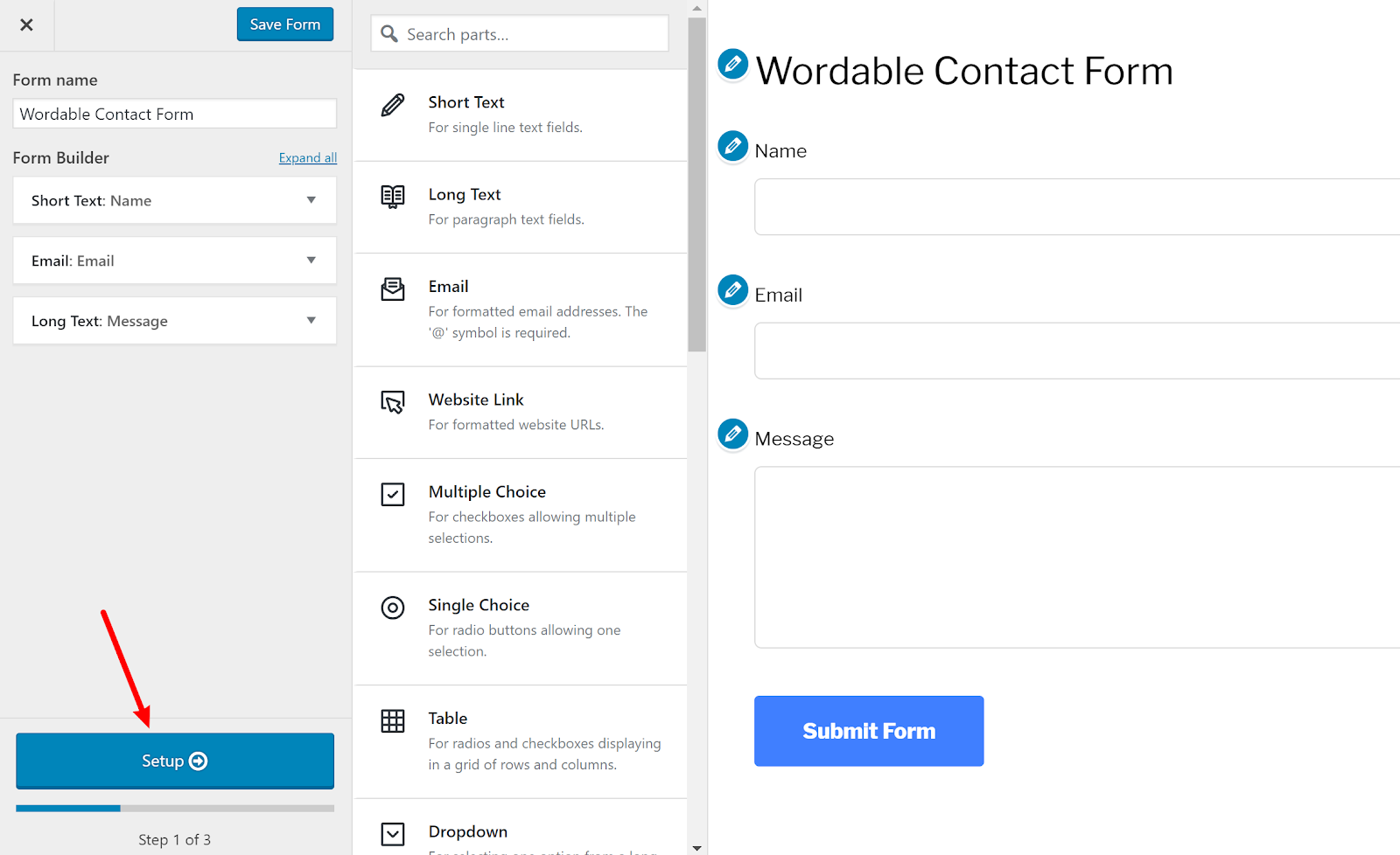 contact form wordpress 5