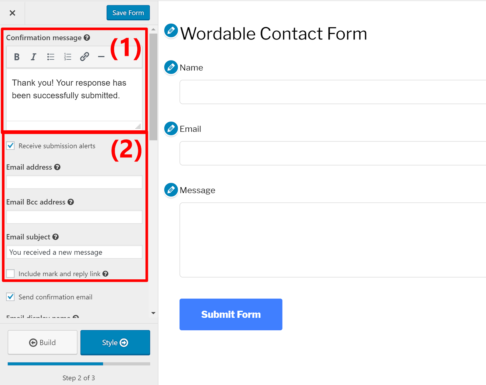 contact form wordpress 6