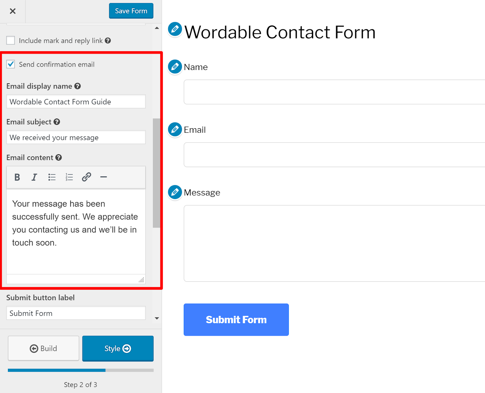 contact form wordpress 7