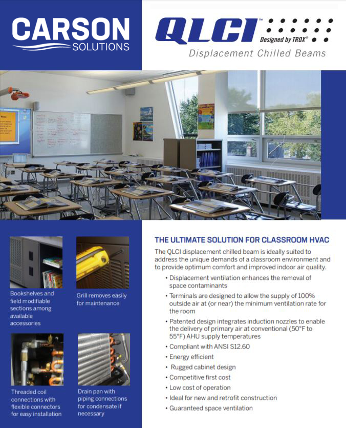 Carson Solutions QLCI Displacement Chilled Beams   Improve Indoor Air in the Classroom