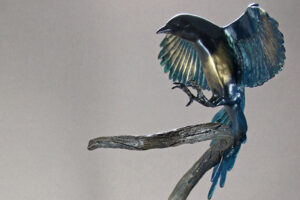A closer look at one of the Magpies in this sculpture