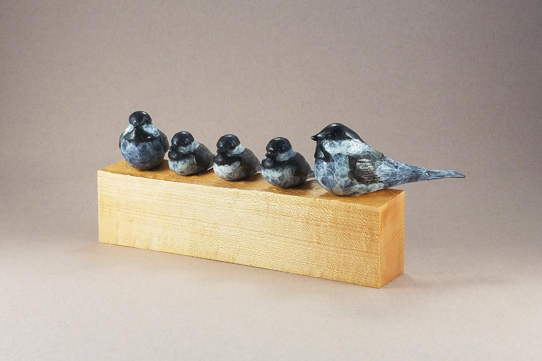Chickadee Family on Maple