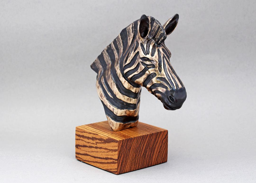 Bronze Zebra Bust on Zebrawood