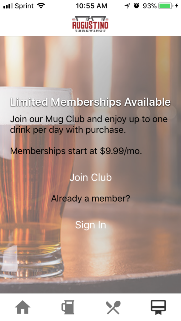 Augustino Brewing Ultimate Mug Club Signup Screen to Signup for Membership
