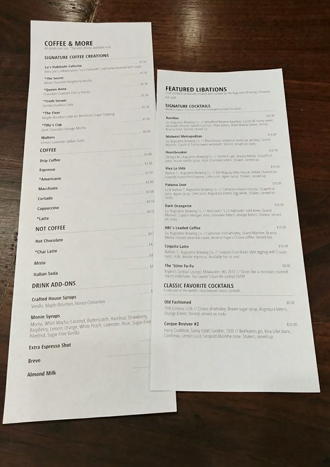 Check Out the New Augustino Brewing Company Coffee and Cocktail Menu at Augustino Brewing