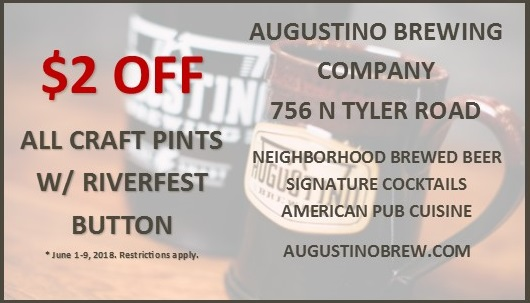 Come on in and enjoy $2 off beers with your Riverfest Button June 1-9, 2018