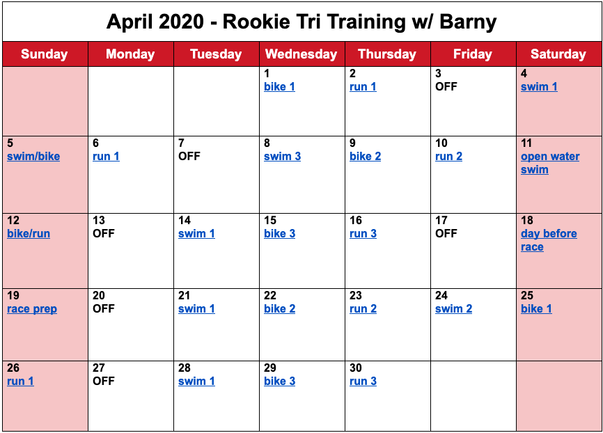 Barny's free training plan for the month of April for the 2020 Rookie Triathlon.