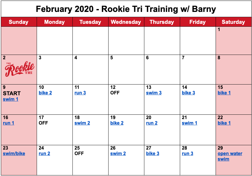 Barny's free training plan for the month of February for the 2020 Rookie Triathlon.