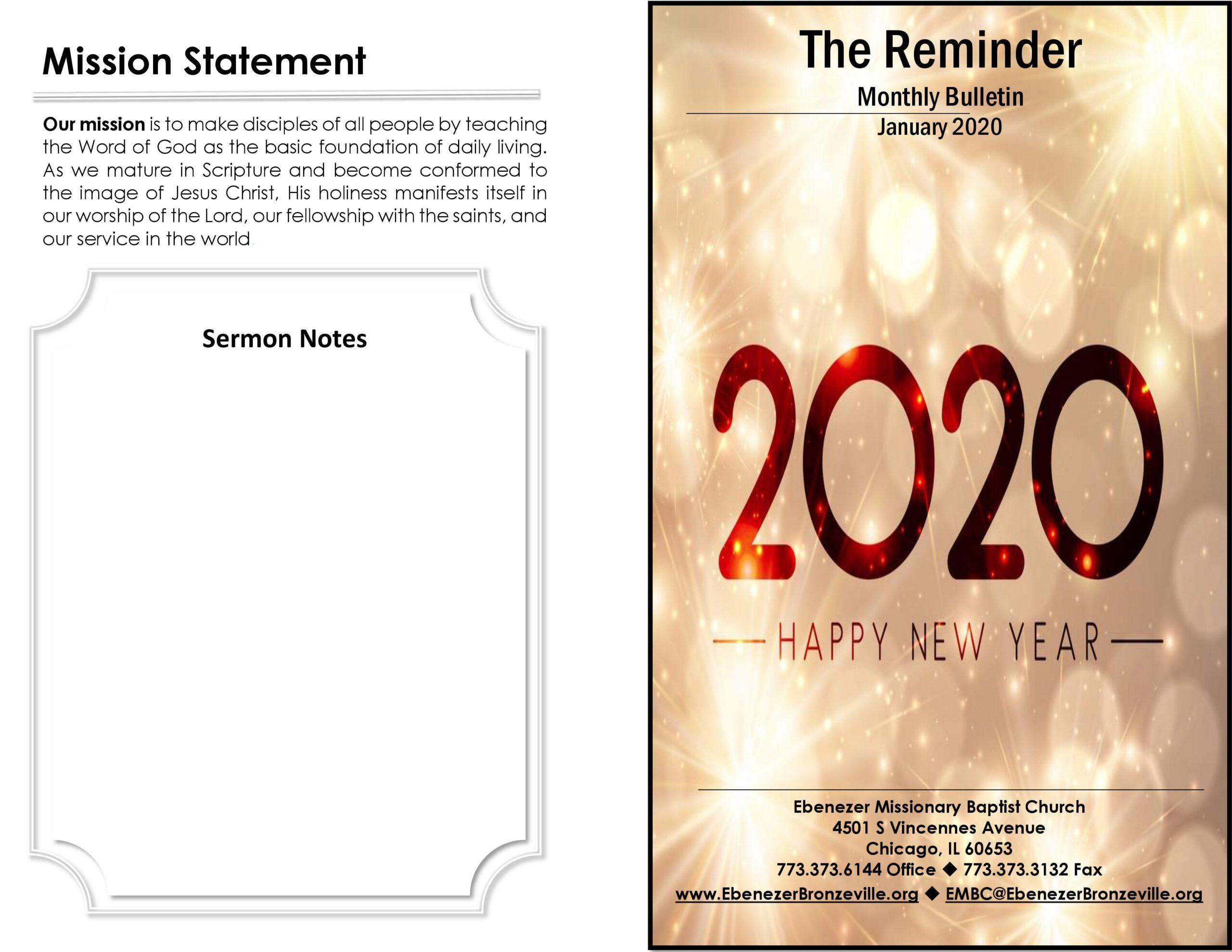Ebenezer MBC Bulletin January 2020